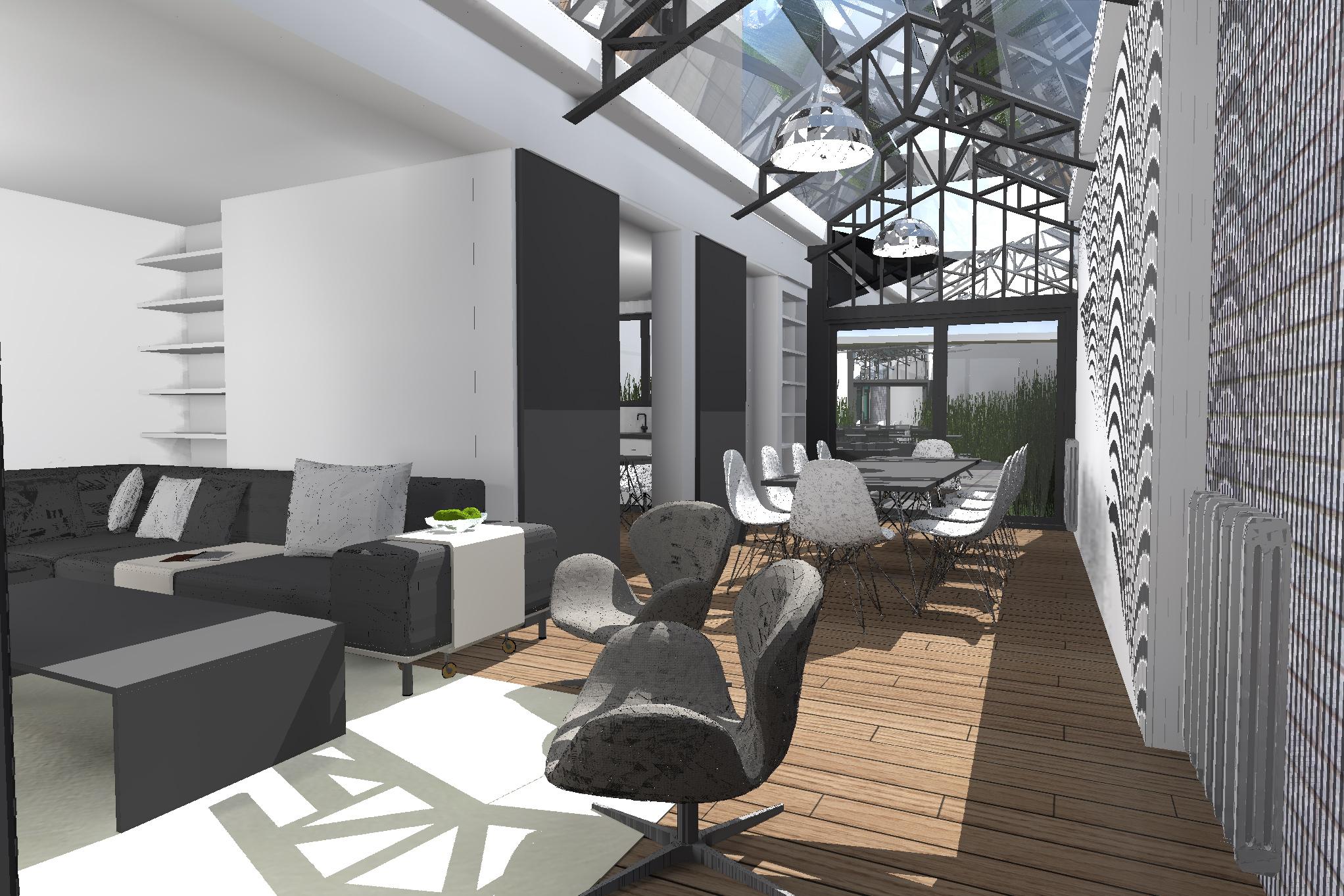 Agrandissement dun sejour jardin hiver cour cuisine salon salle manger verriere restructuration - Salle a manger loft ...